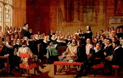 The Westminster Assembly, which saw disputes on Church polity in England (Victorian history painting by John Rogers Herbert).