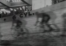In this shot from Walter Ruttmann's Berlin, Symphony of a Great City (1927), cyclists race indoors. The film is shot and edited like a visual-poem.