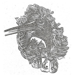 Drawing of a Kwakiutl mask from Boas's The Social Organization and the Secret Societies of the Kwakiutl Indians (1897). Wooden skulls hang from below the mask, which represents one of the cannibal bird helpers of Bakbakwalinooksiwey.