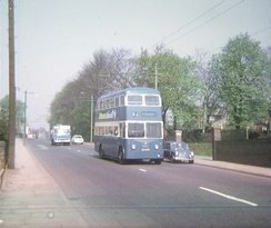 Bradford trolleybus in Leeds Road, Greengates, in May 1971.