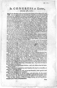 "Broadside statement of Congress of the Colony of New Hampshire, referencing ""sudden & abrupt departure"" of Royal Governor John Wentworth, January 1776"