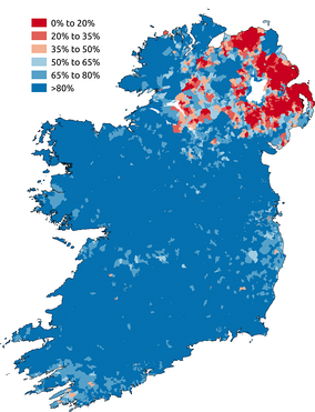 Proportion of respondents to the Ireland census 2011 or the Northern Ireland census 2011 who stated they were Catholic. Areas in which Catholics are in the majority are blue. Areas in which Catholics are in a minority are red.