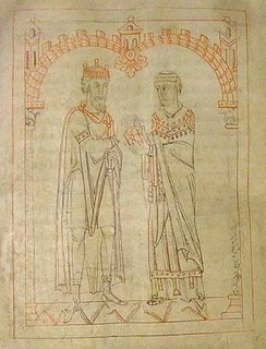 "Miro, king of Galicia, and Martin of Braga, from an 1145 manuscript of Martin's Formula Vitae Honestae,[23] now in the Austrian National Library. The original work was dedicated to King Miro with the header ""To King Miro, the most glorious and calm, the pious, famous for his Catholic faith"""