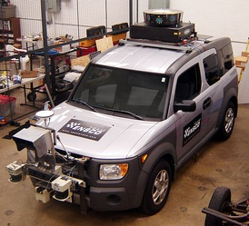 Radar, GPS, lidar, ... are all combined to provide proper navigation and obstacle avoidance (vehicle developed for 2007 DARPA Urban Challenge)