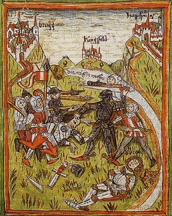 Assassination of King Albert I, Austrian Chronicle of 95 Seigneurs, 14th century