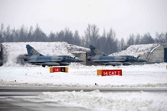 Fighter aircraft at an airbase in Lithuania