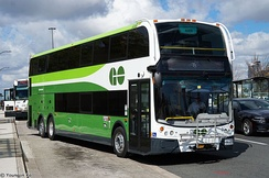 One of GO Transit's 3.9-metre height (12 ft 9 1⁄2 in) Super-Lo double-decker buses