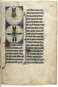 Medieval illustration of the spherical Earth in a 14th-century copy of L'Image du monde