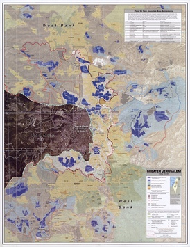 CIA remote sensing map of Greater Jerusalem, showing Israeli settlements, Palestinian refugee camps, fences, walls, etc. in May 2006.