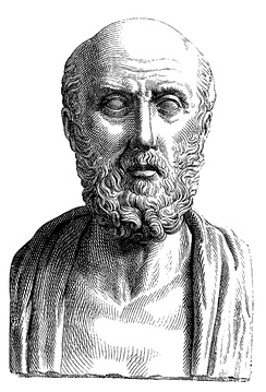 Nineteenth-century engraving of an ancient Roman portrait bust depicting a conventionalized representation of the Greek doctor Hippocrates of Cos