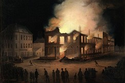 The burning of the Parliament in Montreal, 1849