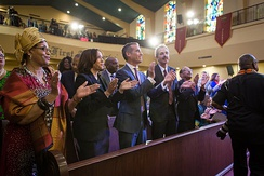 Harris with Mayor Eric Garcetti at African Methodist Episcopal Church Church in Los Angeles is 2020