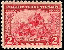 Two-cent stamp for the tercentenary, depicting the landing of the Pilgrims