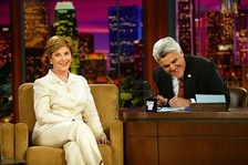First Lady Laura Bush and Jay Leno