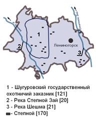 Карта-схема особо охраняемых природных территорий в Лениногорском муниципальном районе