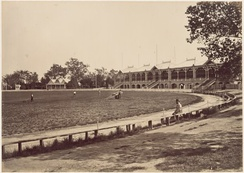 The MCG in 1878. The first Test cricket match was played at the MCG in 1877