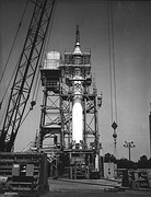 Mercury-Redstone prior to test-firing in the Redstone Test Stand at Marshall Space Flight Center, Alabama