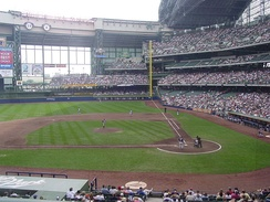 Miller Park is the home stadium of Major League Baseball's Milwaukee Brewers.