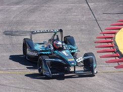 Mitch Evans driving for Jaguar at the 2017 Berlin ePrix.