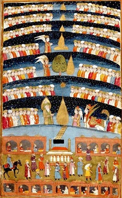 Persian miniature depicting the artist's impression of heaven