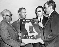 NAACP leaders Henry L. Moon, Roy Wilkins, Herbert Hill, and Thurgood Marshall in 1956.