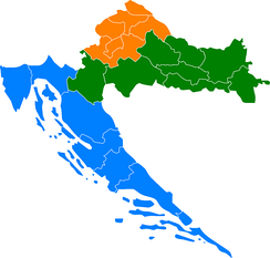 Division of Croatia into 3 sections, one coastal, one upper left, and one with the rest