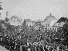 Public demonstration during Young Turk Revolution in the Sultanahmet district of Constantinople, 1908