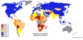 2008 CIA World Factbook-based map showing the percentage of population by country living below that country's official poverty line