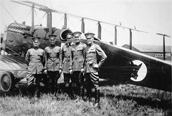 Capt. St. Clair Streett (at left) with pilots of the 1920 Alaskan Flying Expedition
