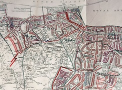 "Poverty map of Woolwich, 1889. The areas in black designate the ""lowest class, vicious, semi-criminals"". Bright red is ""middle class, well-to-do"""