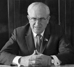 Yuri Andropov, the Chairman of the KGB who presided over the pervasive crackdown on dissent during Brezhnev's leadership.