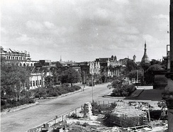 Damage of central Rangoon in the aftermath of World War II.