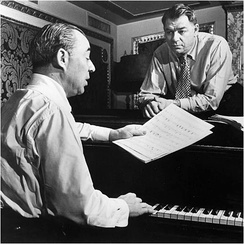 Rodgers (seated) with Hammerstein, 1945