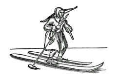 Sami hunter using skis of unequal length—short for traction, long for gliding—and a single pole. Both were employed until ca. 1900. (1673 woodcut)