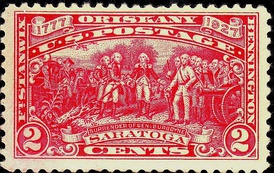 A 1927 sesquicentennial commemorative stamp reproducing the painting