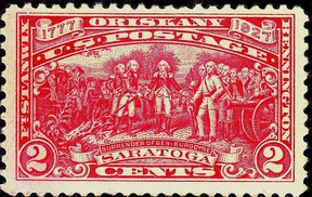 The Surrender of General Burgoyne to General Horatio Gates, at Saratoga, depicted on a 1927 U.S. Commemorative Postage Stamp