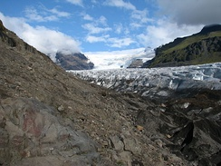 The Svínafellsjökull glacier in Iceland was used as a filming location for Interstellar, doubling for Mann's planet.