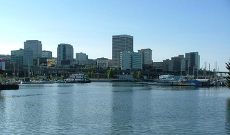 Skyline of Tacoma, a satellite city in the Seattle metropolitan area and Washington's third largest city