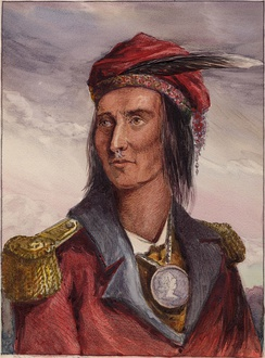 Tecumseh by Benson Lossing in 1848, based on an 1808 drawing