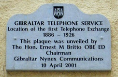 A plaque in City Mill Lane marking the site of Gibraltar's first telephone exchange.