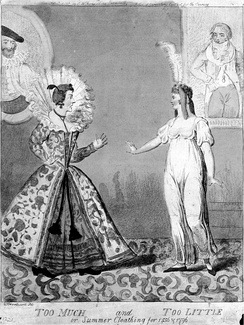 A satirical 1796 contrast between old Elizabethan and Directoire clothing styles: Too Much and Too Little, reads the caption of this caricature by Isaac Cruikshank