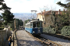 The Trieste tram is pushed up the mountain by a cable.