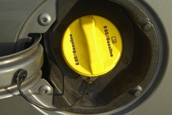 Typical yellow cap used for the fuel filler cap of U.S. vehicles built to use the E85 blend