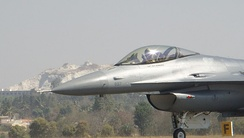 USAF F-16 Block 50 on ground taxiing to the runway for take-off at Aero India 2011, Yelahanka Air force Base Bangalore.