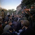 Military police keep back Vietnam War protesters during their sit-in on 21 October 1967, at the mall entrance to The Pentagon