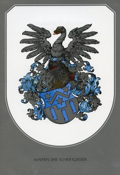 "The German coat of arms for a type-founders' guild (or ""Schriftgießer"" in German)"