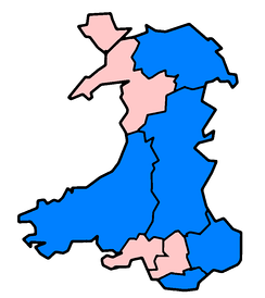 Non-administrative counties in Wales affected in June and July 2007 floods as of 24 July (marked in blue).