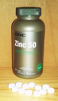GNC zinc 50 mg tablets. The amount exceeds what is deemed the safe upper limit in the United States (40 mg) and European Union (25 mg)