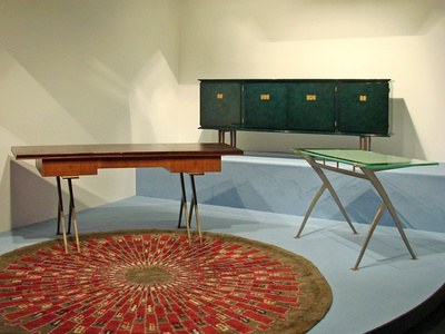 Late Art Deco furniture and rug by Jules Leleu (1930s)