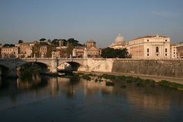 The expression refers to the Tiber which runs through Rome.